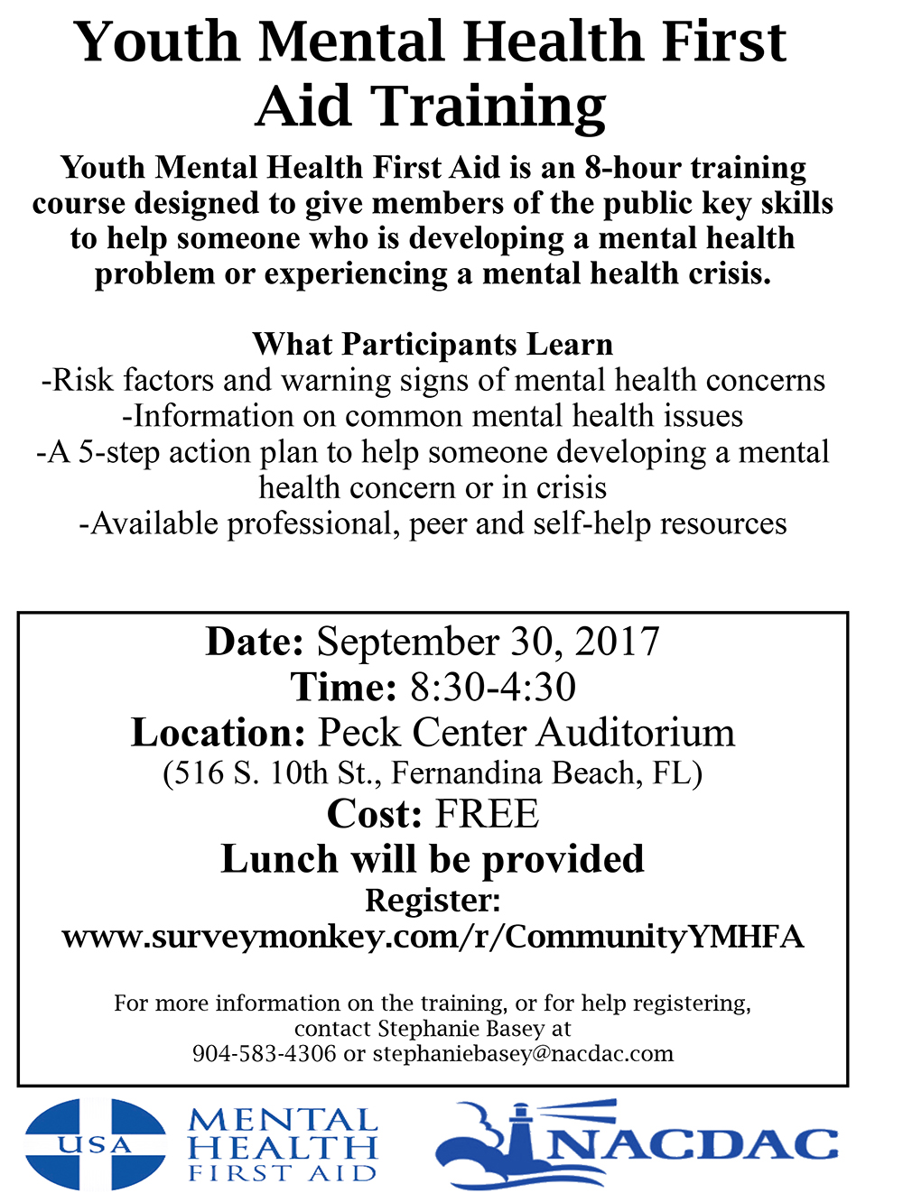 image of flyer for youth mental health first aid class