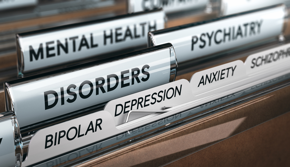 photo of file cabinet tabs with labels of mental health, psychiatry, anxiety and other related concepts.