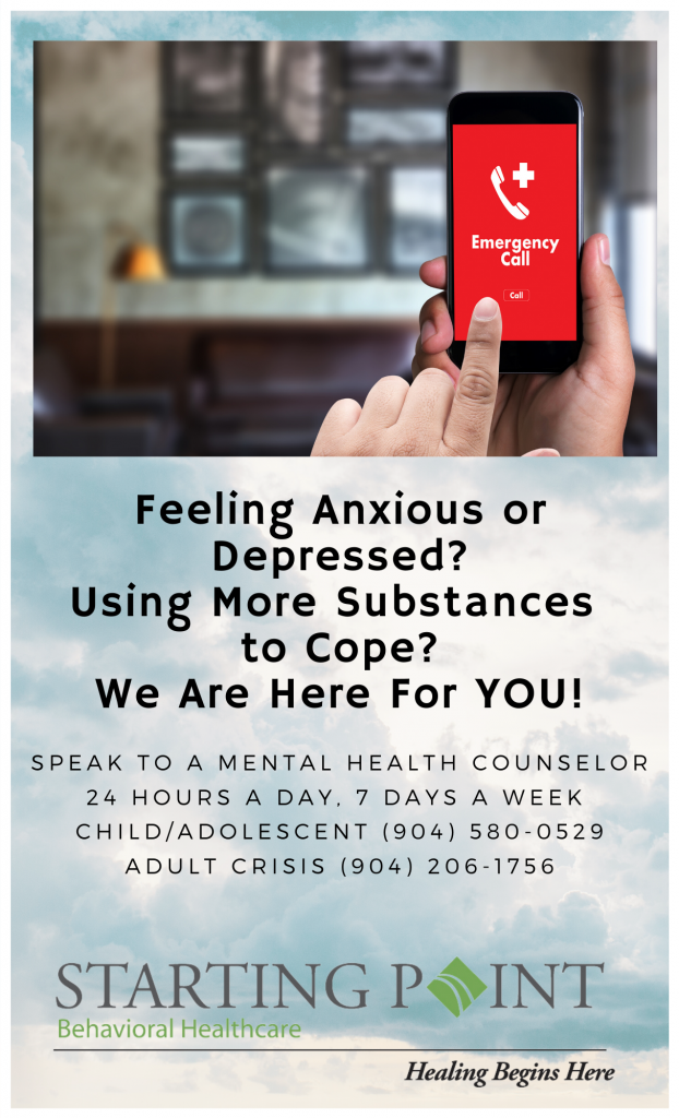 Copy of Talk to a mental health counselor 24 hours a day, 7 days a week Child_Adolescent# (904) 580-0529 Adult Crisis# (904) 206-1756