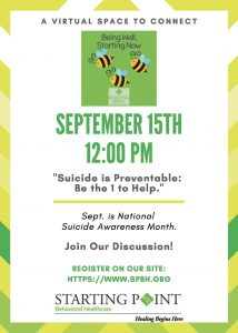 flyer for Sept. 15 Being Well session on suicide prevention