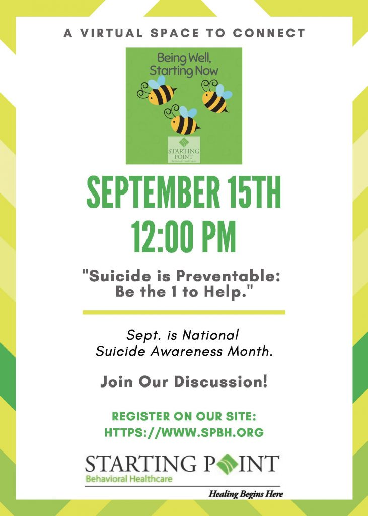 flyer for Sept. 15 Being Well session on suicide